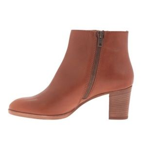 J. Crew Aggie Brown Leather Ankle Boot Stack Heel